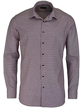 eterna Herren Businesshemd Modern Fit Langarm Hellblau Kariert mit Modern Kent-kragen