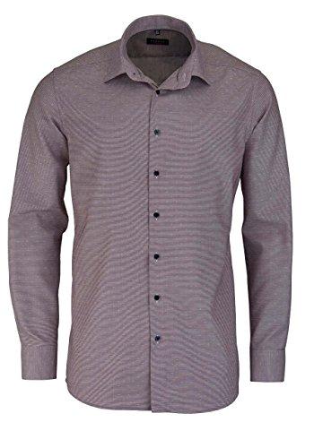 Eterna Long Sleeve Shirt Modern Fit Natté Structured Rosso