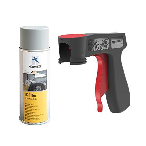 AUPROTEC 1K Dickschichtfüller Multi Filler Lack Füller Grundierung Primer Füllspray 1x 400ml + 1x Original Pistolengriff -