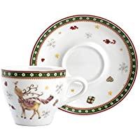 Home Navidad Unidades 4Tazas café, CC 90, con platillo, Porcelana, Multicolor, 12x 12x 7cm