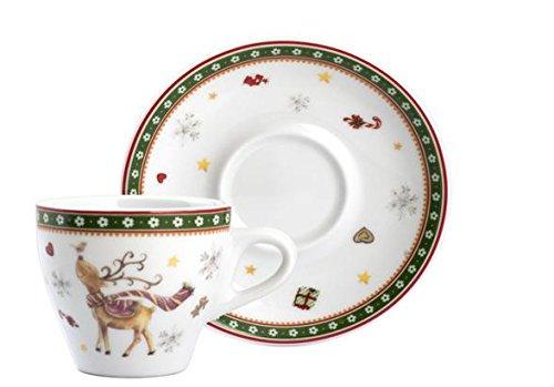 Home Navidad unidades 4tazas café, CC 90, con platillo, porcelana, multicolor, 12x...