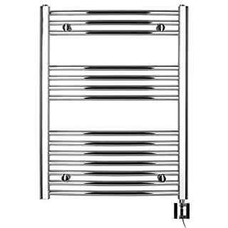 Anapont Electric Towel Rail Chrome Curved High Quality in Various Sizes Available including Heating Element and Heating Ktx 4, Towel Rail, Towel Dryer (775h x 600b)