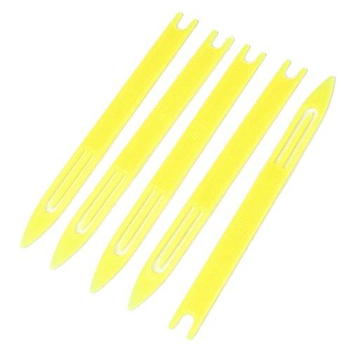 SODIAL(R) 5 Pcs 5# Jaune Plastique Filet de peche Reparer aiguille a filet Navettes