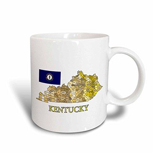 3dRose Flagge und Karte von Kentucky Alle countys in Verschiedenen Farben Becher, Keramik, weiß, 10,16x 7,62x 9,52cm