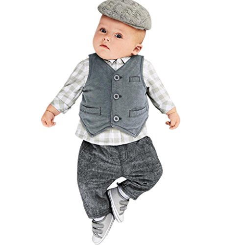 Bekleidung Longra Baby Jungen Gentry Kleidung Set Formal Party Anzug 3PCS Gitter Tops + Hosen + Weste Party Baby Taufe Hochzeit Smoking Bogen Anzüge & Sakkos (0-24Monate) (80CM 12Monate, Gray) -