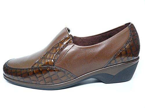 Scarpe pensati Donna Pitillos tipo mocasín-plantilla extraible-piel combinato Cocco Charol, disponibile in colori marrone e nero-1812-102103 marrone Size: 36
