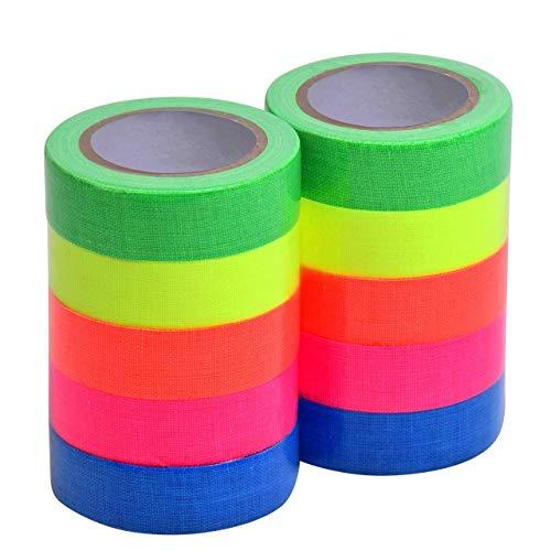 TonGXU Klebeband, UV-Schwarzlicht, reaktiv, fluoreszierendes Tuchband für Party-Dekoration, 4,6 m pro Rolle, 10 Stück, 5 Farben