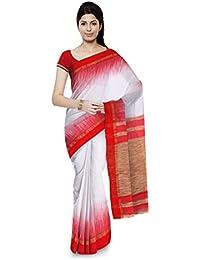 01ef40ba4e Chhanda Handloom Soft Cotton Women's Saree with Blouse Piece (Red & White)