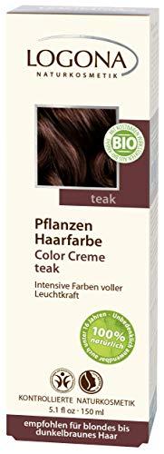 LOGONA Naturkosmetik Coloration Pflanzenhaarfarbe, Color Creme - 230 Teak - Braun, Natürliche & pflegende Haarfärbung (150g) -