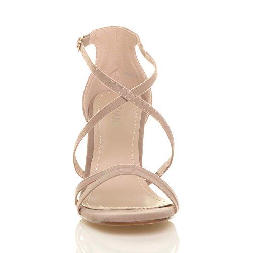 Damen Mittel Hohen Absatz Riemchen Gekreuzten Hochzeit Abend Sandalen Größe Beige Wildleder