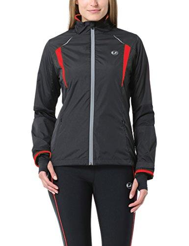 Ultrasport Damen Running-/Bikingjacke Stretch Delight, Schwarz/Rot, M, 40027