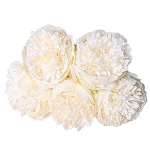 1 ramo de 5 cabezas de flores de seda de peonía artificial para novia, boda, hogar, jardín, decoración, Purplish Red…