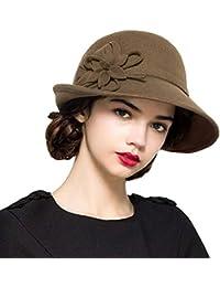 QK-Lannister Cappellini Cappello A Cilindro Donna Inverno Fiori Elegante Autunno  Cappello A Bombetta Chiesa Cappello Moderno Stile Feltro… adfba636756a