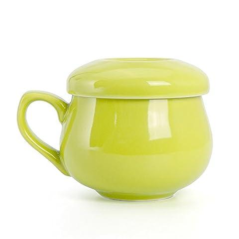 Ivoku Tasse à thé en céramique Tasse à café au lait avec filtre à couvercle Tasse à thé Vaisselle en porcelaine Serve Gift (Vert)