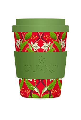 Pukka To-Go-Becher, aus Bambus, grün rot floral, 340 ml Floral Becher