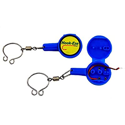 Hook-Eze Fishing Tool - 1 Twin Pack - Hook Tying & Safety Device + Line Cutter - Tie Swivels Cover 2 Poles Manufacturer Warranty - Arthritic Disability Saltwater Freshwater + Hook Remover from Hook-Eze
