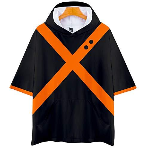 DuHLi My Hero College Hot Spring und Summer Autumn Sale Kurzarm-T-Shirt mit Kapuze Unisex-Paar wie Eltern-Kind-Sport Cosplay,Gray,XXL (Halloween-kostüme College Für Tolle)