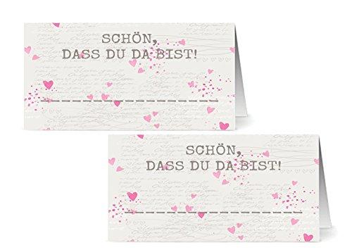 50 Tischkarten - Schön, dass Du da bist / Platzkarten / Namensschilder / Namenskarten / Hochzeit / Tischkarte / Geburtstage