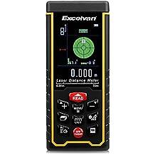 Excelvan - 70M Telémetro láser, medidor de distancia láser con pantalla digital y bateria recargable, Amarillo