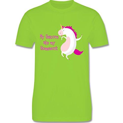 Comic Shirts - My unicorn ate my homework - Herren Premium T-Shirt Hellgrün