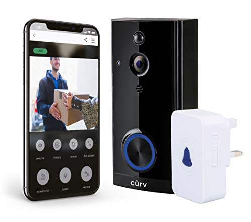 Wireless HD 1080p Video Doorbell WiFi Smart 2-Way Talk PIR Motion Detection Night Vision Internal Chime Wide Angle Free App 8GB SD Card Long Life Batteries