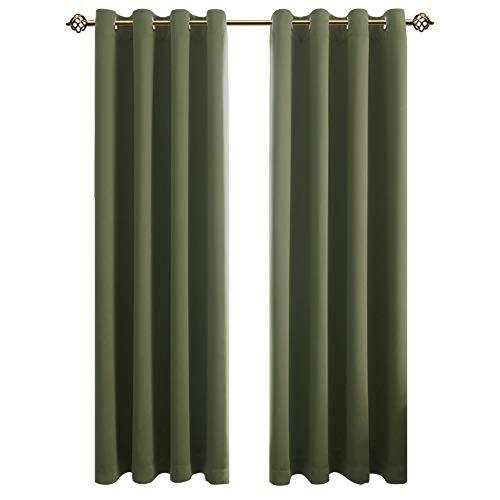 FLOWEROOM Blickdichte Gardinen Verdunkelungsvorhang - Lichtundurchlässige Vorhang mit Ösen für Schlafzimmer Geräuschreduzierung Olivgrün 245x140cm(HxB), 2er Set -