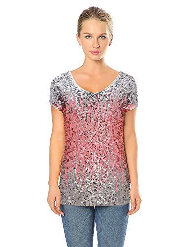 Juwel Ausschnitt Kurze Ärmel Spitze (Metme Damen Pailletten verschönert Ärmelloses Shirt mit V-Ausschnitt Pullover Top Sexy Weste Spitze Blusen & Tuniken Shirts Silber/Pink, L, EU42)