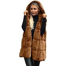 Capa sin Mangas con Capucha de Las Mujeres Color sólido Tamaño Grande Felpa Abrigo Largo de