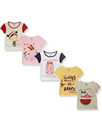 Donuts by Unlimited Baby Girls' Plain Regular Fit T-Shirt (Pack of 5)(Colors & Print May Vary)