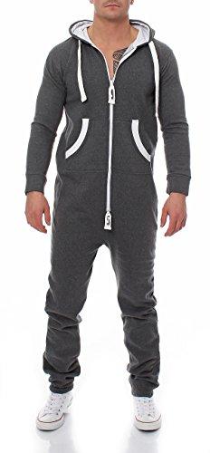 Herren Jumpsuit 9T5 Jogginganzug Trainingsanzug Einteiler Overall dunkelgrau XL