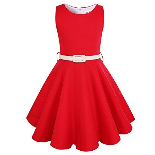 HBBMagic Maedchen Audrey 1950er Vintage Baumwolle Kleid Hepburn Stil Kleid Blumen Kleid Tupfen Kleid (7-8 Jahre, (Kleid Kinder Rot)