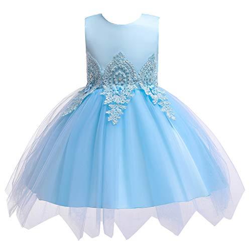 LSAltd Mode Kind Kind Mädchen süße Blume Bestickt Tüll Kleid Ball Prinzessin Kleid schöne Reine Farbe ärmelloses Partykleid (Thong Schöne)