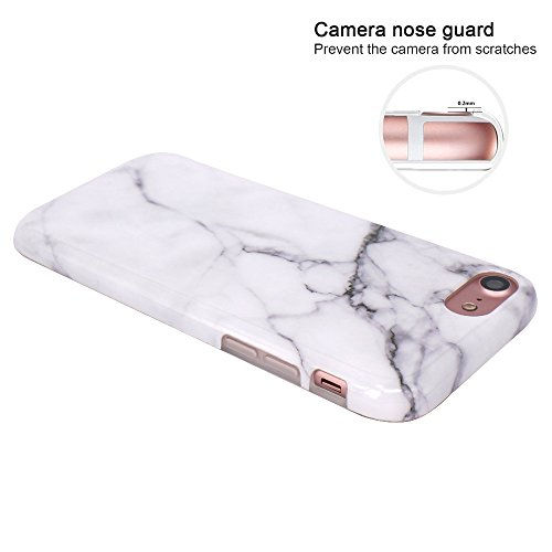 iPhone 7 Hülle, iPhone 8 Hülle, JIAXIUFEN Glänzend Rose Gold Gray Marmor Design Soft TPU Silikon Schutz Handy Hülle Handytasche HandyHülle Case Cover Schutzhülle für Apple iPhone 7 /iPhone 8 Weiß
