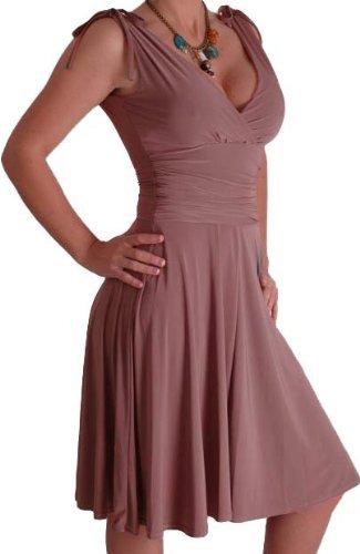 EyeCatchClothing - Sasha verführerisches Kleid in griechischem Style Mokka Gr. 14 UK / 42 EU -