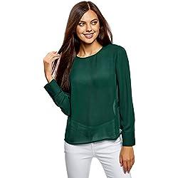 oodji Ultra Mujer Blusa Ancha con Escote Gota en la Espalda, Verde, ES 34 / XXS