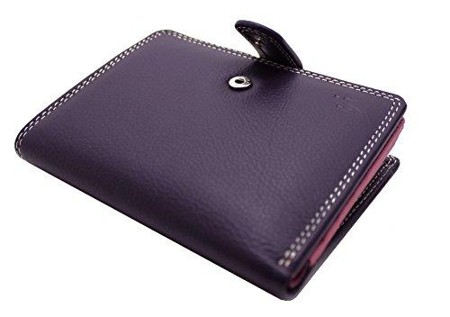 Starhide® da donna Compatto in vera pelle portafoglio porta carte di credito con zip laterale tasca per monete in confezione regalo # 5535 Viola