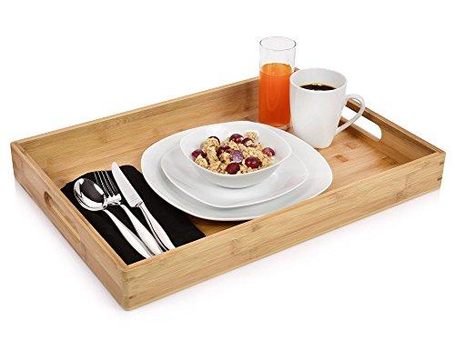 Bluespoon Tablett aus Bambus | Maße des Serviertabletts 50x35x5,5 cm | Umweltfreundliches Frühstückstablett | Kinderleichtes Servieren Ihrer angerichteten Speisen
