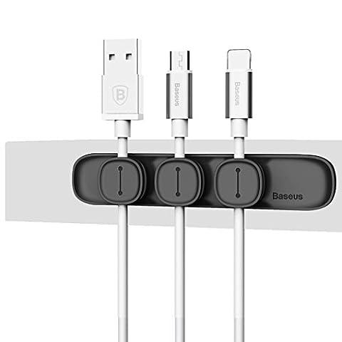 Fulltime® Câbles magnétiques Cable Clips Holder Desktop Cable Clip Cord Wire Management (Noir)
