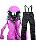 kisshes Damen Skianzüge Set Wasserdicht Winddicht Schneeanzug Warm Snowboardanzug Skijacke Skihose Zweiteilig Ski Jacke Anzug mit Kapuze