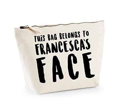 This Bag Belongs to... - Personalised Name - Fun Slogan, Make Up and Cosmetics Bag, Accessory Organiser Natural/Black
