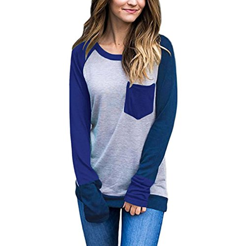 Ularma Damen Colorblock Bluse Langarm Shirts Crewneck Slim Fit Sweatshirt (L, Blau) (Colorblock Crewneck Pullover)