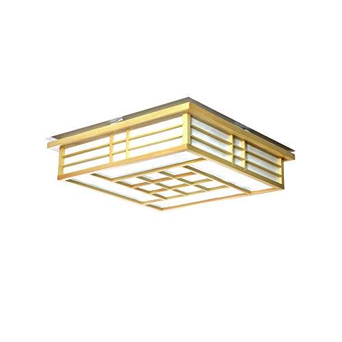 Wandun LED Lámpara de Techo De Madera, Luces De Techo Estilo Japonés 45 * 45 * 12cm Plafon de Techo Dormitorio Personalizado Plafón Lámpara De Madera Maciza Iluminación Creativa