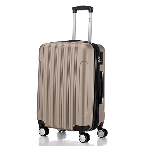 Zwillingsrollen 2050 Hartschale Trolley Koffer Reisekoffer in M-L-XL-Set in 12 Farben (Set , Champagner) - 2