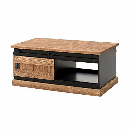 PierImport Table Basse en pin Massif brossé et laqué Noir, 2 Portes coulissantes 110x70x47cm Sherbrooke