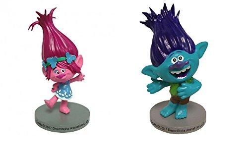 Lot 2 Figurine PVC personnage Poppy et Branche Trolls - Dek Déco Gâteau Anniversaire Pvc