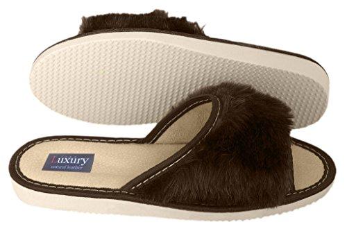 Luxury Line , Damen Hausschuhe Brown Open Toe
