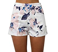 Witkeyseller Women's High Waist Printing Floral Comfy Summer Hot Pants M White