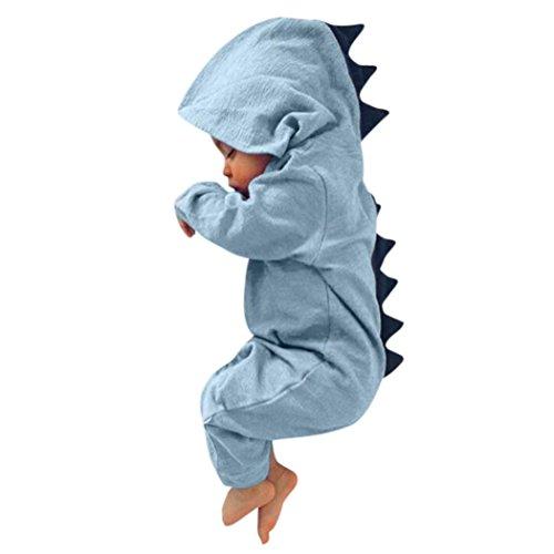 Strampler für Neugeborene Hirolan Säugling Baby Junge Mädchen Dinosaurier Kapuzenpullover Spielanzug Lange Ärmel Baumwolle Overall Weich Mit Kapuze Outfits Kleider (60, Blau)