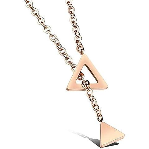 Rettangolo triangolo pendente lunga catena Link Choker Y collana , rose gold