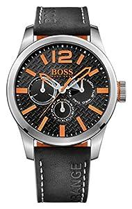 Hugo Boss Orange Paris Men's Quartz multi dial Black Leather Strap 1513228